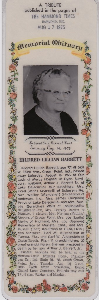 HILDRED`S OBITUARY